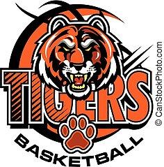 tigers basketball team design with mascot head inside orange basketball