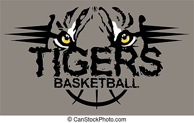 tigers basketball team design with mascot tiger eyes for school, college or league
