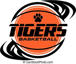 tigers basketball team design with swishes for school, college or league