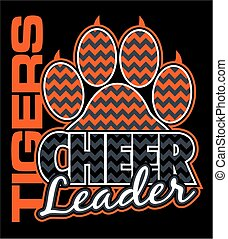 tigers cheerleader team design with paw print and chevrons for school, college or league
