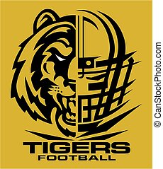 tigers football team design with mascot and facemask for school, college or league