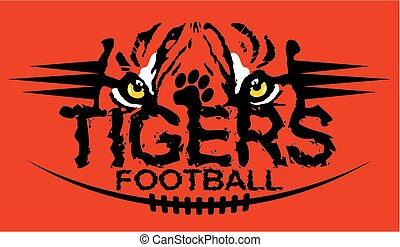 tiger eyes football team design for school, college or league