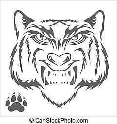 Tigers head and foot print tattoo design.