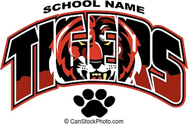 tigers team design with mascot face for school, college or league