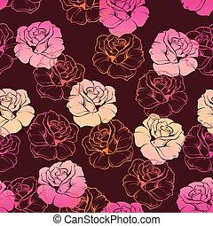 Tile vector dark floral pattern