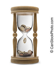 Time is money (Time management) - sandglass filled Euro money