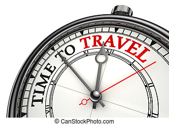 time to travel concept clock closeup on white background with red and black words