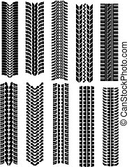 Set of tire shapes isolated on white for design
