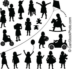A set of children illustration playing happily.