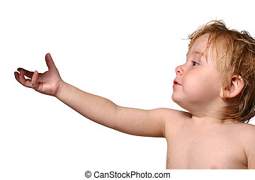 toddler holding out his hand isolated on a white background (the shadow of an object is on his hand)