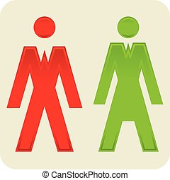 Toilet symbols of male and female gender.