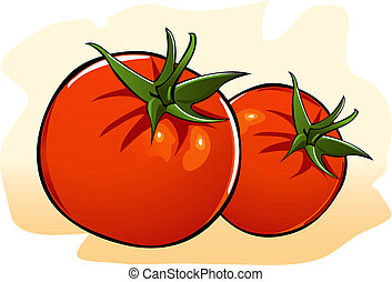 Illustration of red tomato in red screen