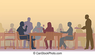 Editable vector scene of people eating in a restaurant