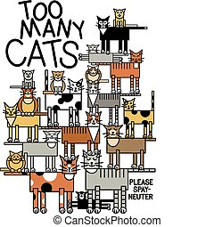 Illustration of a large cat family. Typestyle is my own creation.