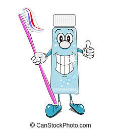 Toothpaste & toothbrush cartoon