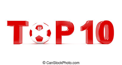 Text TOP 10 with football (soccer) ball instead letter O