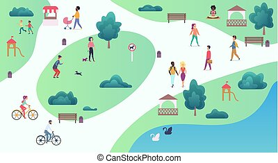 Top map view of various people at park walking and performing leisure outdoor sport activities. City park vector illustration.