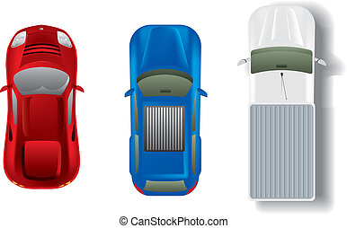 Top view different automobiles set