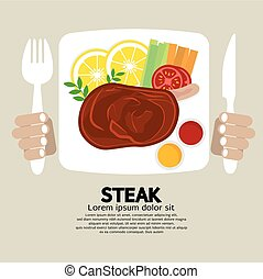 Top View Of Steak Plate Vector Illustration