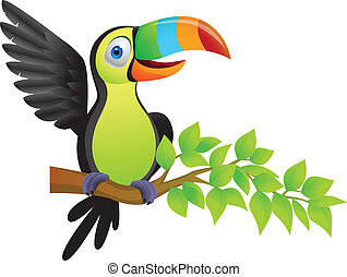 Vector illustration of toucan bird, linear and radial gradient some gradient mesh used