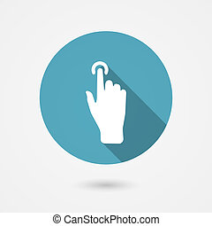 touch icon, hand with pressed finger in flat style