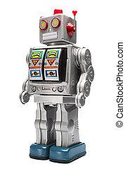 Toy tin silver robot isolated on white