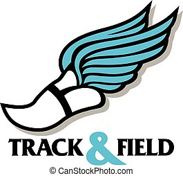 track and field design with winged track foot