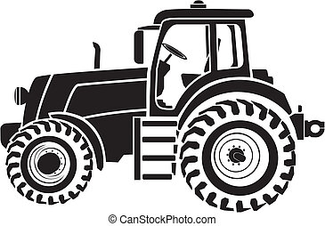 Black and white image of tractor