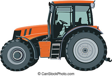 Orange tractor separately on a white background