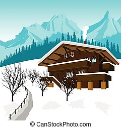 traditional alpine chalet in the mountains of the Alps