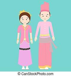 traditional clothes nusa tenggara barat indonesia ethnic cloth vector couple pakaian adat
