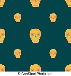 Traditional day of death seamless pattern with skulls orange shapes. Dark turquoise background.