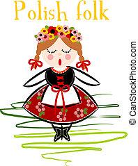 Traditional Polish Costume (Cracovie) - Vector illustration.
