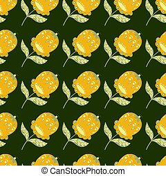 Traditional seamless pattern with bright yellow folk flowers ornament. Dark green background. Simple style.