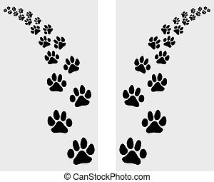 Trail left and right of footstep of cat, vector