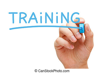 Hand writing Training with blue marker on transparent wipe board.
