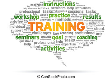 Training Word speech bubble illustration on white background.