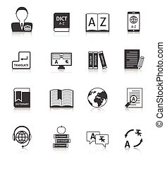 Official documents translation for legal equivalence and online english dictionary black icons collection abstract isolated vector illustration