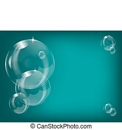 Transparent soap bubbles background vector illustration with a series of bubbles on a teal background