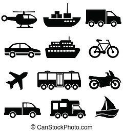 Transportation icon set on white background