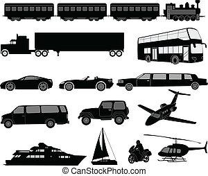 Transportation silhouettes - vector