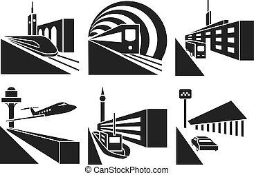 Transportation stations vector icons set