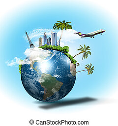 Collage about tourism and travel with planet earth and plane