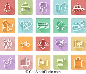 Travel and tourism icons including beach deck chair, shopping, dinning, museum and many more