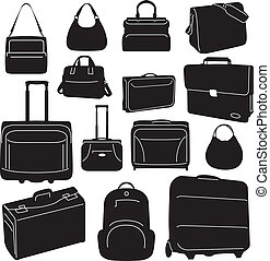 Travel bags and suitcases collection - vector