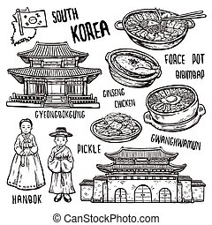 travel concept of south Korea in exquisite hand drawn style