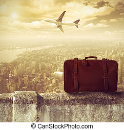 Concpet of travel by airplane