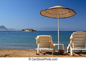 Travel destination. Sea view from the beach.