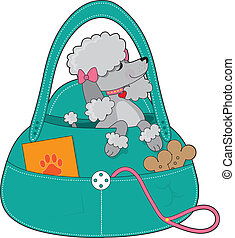 A dainty grey poodle with pink collar and bows, is sitting up pretty in a doggy carry all.
