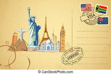 illustration of world famous monument on travel postcard